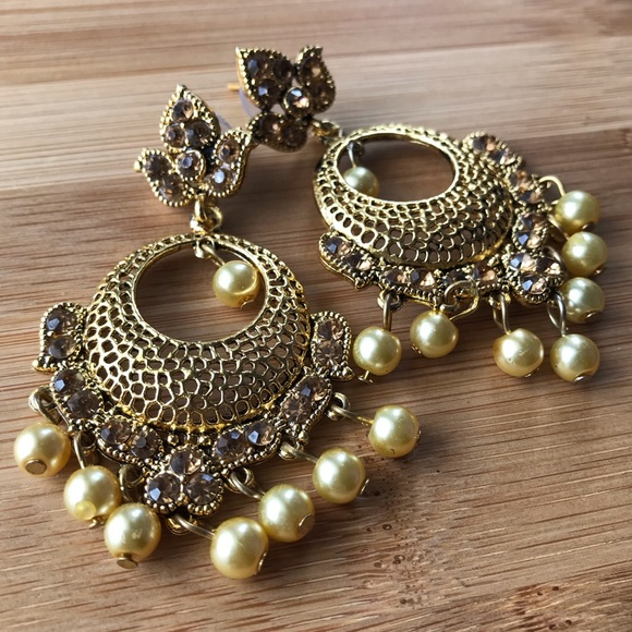 Indian EARRINGS/JHUMKE - Antique Gold